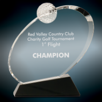 Large Crystal Oblong Golf Award on Black Base