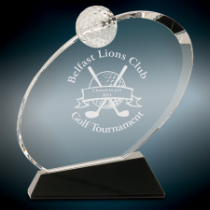 Small Crystal Oblong Golf Award on Black Base