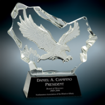 Crystal Carved Eagle on Black Base