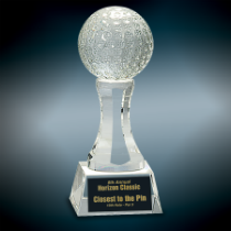 Crystal Golf Ball on Clear Pedestal Base