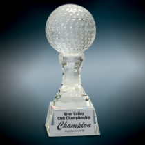 Large Crystal Golf Ball on Clear Pedestal Base