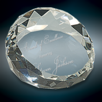 Round & Slanted Crystal Facet Paperweight