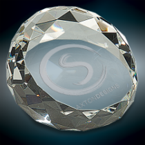 Large Round & Slanted Crystal Facet Paperweight