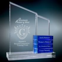 Crystal Perpetual Standup Plaque with Blue Blocks
