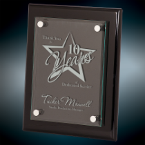 8 x 10 Black Piano Finish Floating Glass Plaque